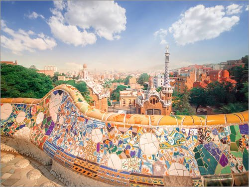 Posterlounge Lienzo 40 x 30 cm: The Park Guell in