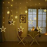 #5: Quace 12 Stars 138 LED Curtain String Lights, Window Curtain Lights with 8 Flashing Modes Decoration for Christmas, Wedding, Party, Home, Patio Lawn, Warm White (138 LED - Star) - Yellow
