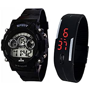 BLUE DIAMOND Sports Watch Collections - Digital Black Dial Sports Watch & Unisex Silicone Black Led Digital Watch for Boys, Girls, Men, Women & Kids 9700