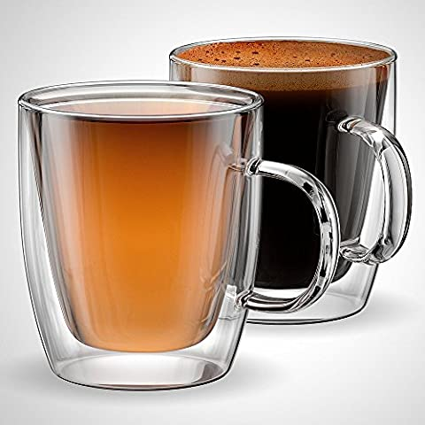 Glass Coffee or Tea Mugs, 350mls, 12oz , Double Walled