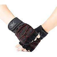 YXwin Guantes deportivos Gimnasio Guantes medio dedo respirable del levantamiento de pesas con mancuernas fitness Gimnasio Hombres Mujeres Tamaño de los guantes(L)