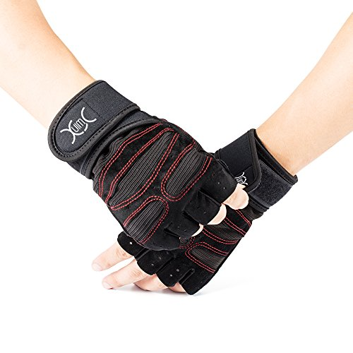 YXwin Guantes deportivos Gimnasio Guantes medio dedo respirable del levantamiento de pesas con mancuernas fitness Gimnasio Hombres Mujeres Tamaño de los guantes(M)