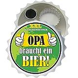 AV Andrea Verlag Großer XXL Flaschenöffner Kapselöffner Flaschenöffner Bier Öffner sehr robust mit Hochglanz Etikett (Opa braucht EIN Bier 32041) für Männer Männergeschenke Verschiedene Anlässe