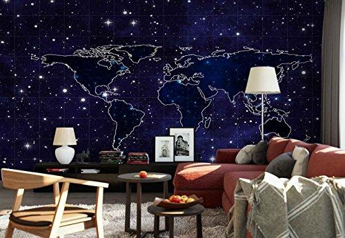 Vlies Fototapete Fotomural - Wandbild - Tapete - Weltkarte Nachthimmel Hintergrund - Thema Sterne und Weltraum - MUSTER - 104cm x 70.5cm (BxH) - 1 Teilig - Gedrückt auf 130gsm Vlies - FW-1134VEM (Nacht Himmel Karte)