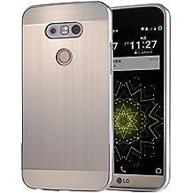 AIBULO® PC +métal double Matériel Téléphone Armure Bumper Protictive couvercle housse/ étui/coque du boîtier pour LG G5 (pour LG G5, argent)