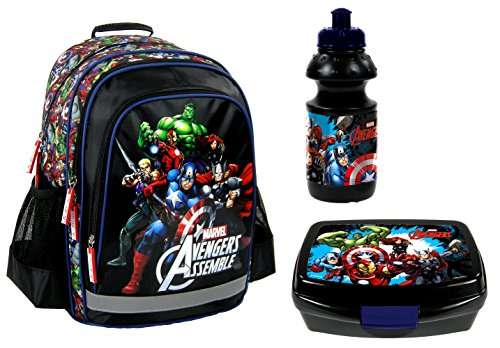 Marvel's Avengers Hulk Thor Schulrucksack inkl. Trinkflasche und Brotdose / sehr leicht / geräumig / 3 Fächer / 600 Gramm / 39x29x17 cm / Kinderrucksack / inkl. Sticker von Maximustrade