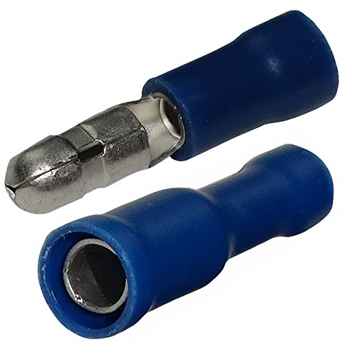 Aerzetix: 200x Cosse électrique cylindrique bleue mâle femelle Ø4mm 1.5-2.5mm² C11527C11528