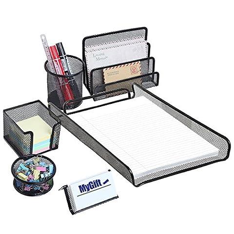 mygift Deluxe tout en métal noir bureau de bureau en maille d'alimentation Support de rangement Plateaux–Combo Set de 6Pièces