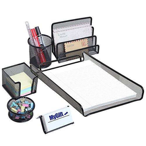 MyGift All-in-1Deluxe Nero Metallo Desktop Storage Organizer per forniture per ufficio Vassoi-Set di 6pezzi