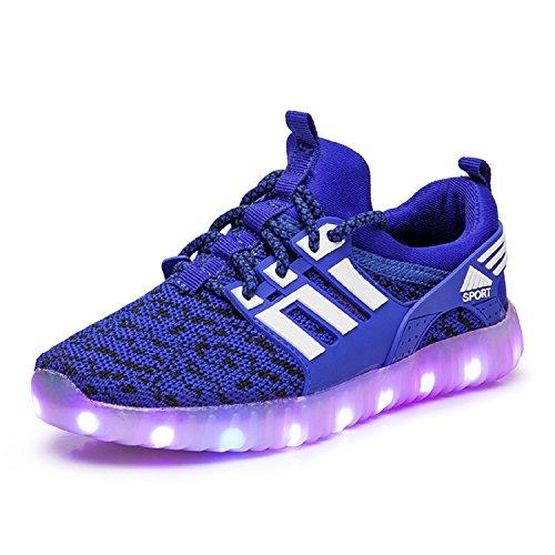 Unisex - Kinder LED Turnschuhe 7 Farbe USB Aufladen Leuchtend Sportschuhe Jungen Mädchen LED Farbwechsel Sneaker Blau