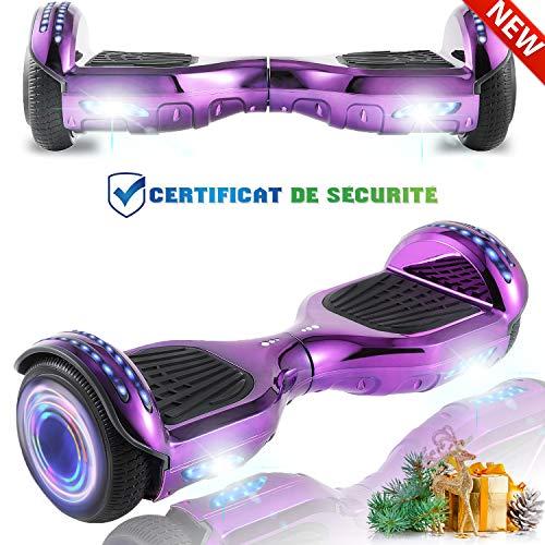 CHIC autobalanceado, Ruedas de Skate con luz LED, Motor Bluetooth de 700W para niños y Adultos (Rosa)
