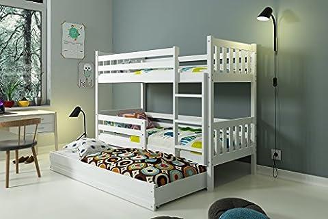 Lits superposé CARINO 3 places 190x90 avec sommiers, tiroir et matelas BLANC ou GRIS (blanc)