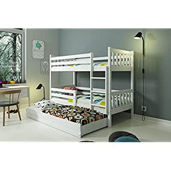 lits superpos carino 3 places 190x90 avec sommiers tiroir et matelas blanc ou gris blanc. Black Bedroom Furniture Sets. Home Design Ideas