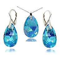 Jewellery Set, Royal Crystals Aqua Blue Colour Drop Earrings and Necklace for Women Made with Swarovski Crystals and Sterling Silver 925,18""