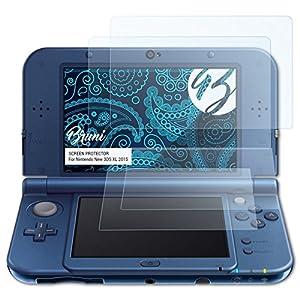 Bruni Schutzfolie für Nintendo New 3DS XL 2015 Folie, glasklare Displayschutzfolie (2er Set)