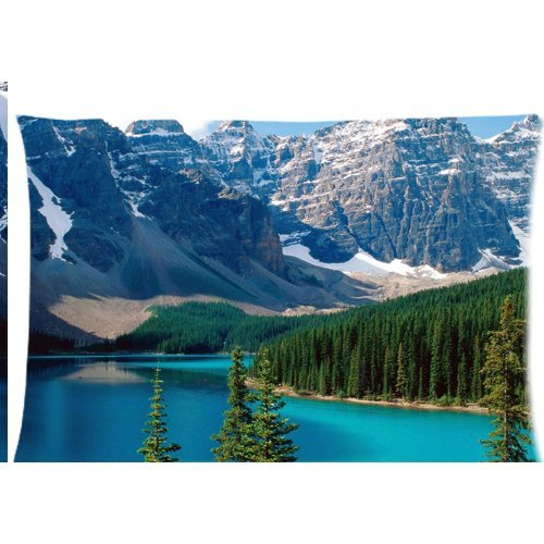 Landscape Snow Mountain Lake blue green water trees Wallpaper Zippered Pillow Cases Cover 20x30 - Blue Mountain Wallpaper