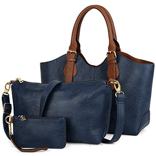 UTO Damen Handtasche Set 3 Stücke Tasche PU Leder Shopper klein Schultertasche Geldbörse Trageband Aprikose blau