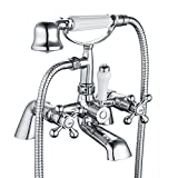 Funime Victorian Luxury Bathroom Shower Taps Mixer Traditional Shower and Bath Tap Chrome Brass