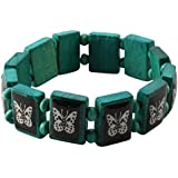 FREAK SCENE Wooden Bracelet Different Motifs And Colors - Wooden, Wood, Butterfly - mint green