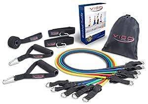 Jetzt NEU – Premium Resistance Band Widerstandsband Set mit VIP Workout Guide – hochwertige Fitnessband Expander Bänder für ein profesionelles Hometraining inkl. Trainingsguide, Griffe, Türanker & Fußschlaufen