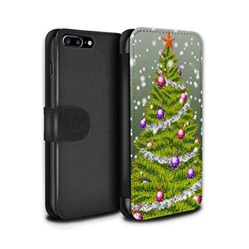 Stuff4 Coque/Etui/Housse Cuir PU Case/Cover pour Apple iPhone 7 Plus / Gris Design / Sapin/Arbre de Noël Collection Vert
