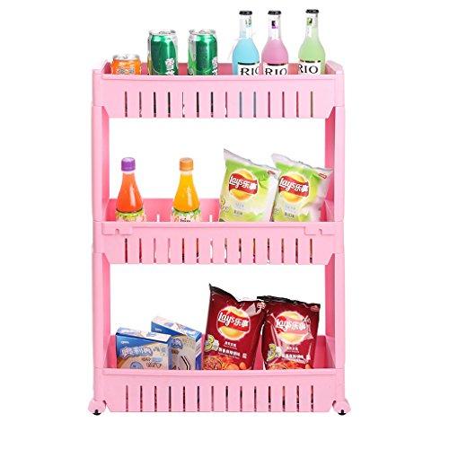 shuang 3 Schicht Kunststoff Küche Lagerregal kann zwischen den Auto Fach Kunststoff Storage Holders bewegen 3326 ( Farbe : Pink )