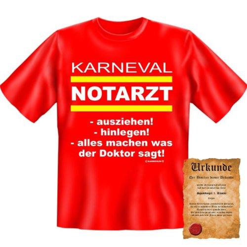 lustiges witziges Karneval Fasching T-Shirt + Urkunde: Karneval Notarzt - Herren Shirt Kostüme Fastnacht Rosenmontag (Ideen Playboy Kostüm Party)