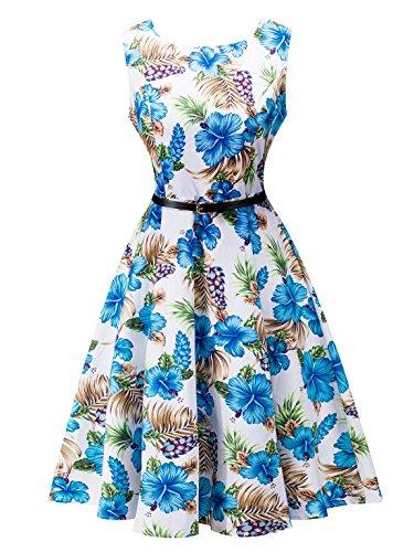 Feoya Robe Imprimée Rétro Femme Fleurie Vintage 50's Style Audrey Hepburn sans Manches Classique Cocktail avec Ceinture Col Rond Haute Taille Soirée Mi-longue Coton Extensible Grande Taille Eté Fleur bleu