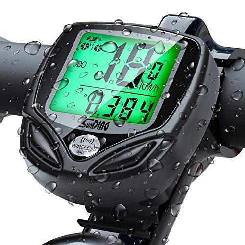 Vegena Fahrradcomputer Kabellos, 16 Funktionen wasserdichte LCD Geschwindigkeit Fahrradtacho Radcomputer Tacho, Tachometer (Schwarz)