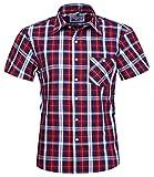 BANQERT Herren Hemd'Free Fella' Karohemd | Faire Löhne | 100%'carbon-brushed' Shirt aus Baumwolle Baumwollhemd kurzarm | Kariertes Freizeithemd Kurzarmhemd Bürohemd Streetwear | Rot Weiss, XL