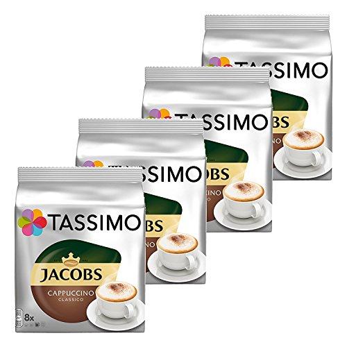 Tassimo Jacobs Cappuccino, Capsule Caffé, Caffé Tostato Macinato, Pacco da 4, 4 x 16 T-Discs