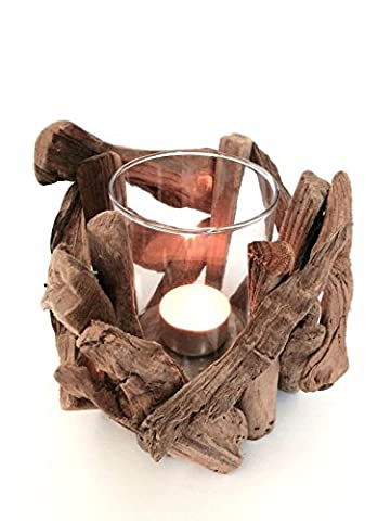 Driftwood Wooden Twig Tea Light Candle Holder & Glass Votive