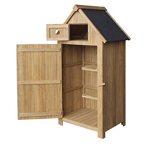 Wiltec armadio per esterni a forma di casa legno dŽabete 770x540x1420 mm ripostiglio da giardino
