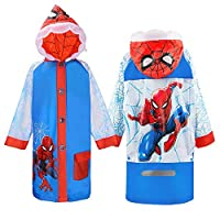 ASDFNF Raincoat Children Waterproof Poncho Cartoon Spiderman Waterproof Jacket