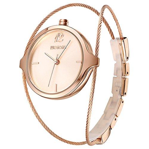 Stahl Draht Hersteller (Luxus Elegant Damen Stahl Draht Band Einfach Zifferblatt Armbänder Quarz Armbanduhr Rose Gold)