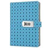 Jia Hu Tagebuch/Notizbuch, Gittermuster, aus Kunstleder mit Zahlenschloss, Stifthalterung, DIN-A5-Format, für Kinder und Erwachsene, für Schule, Reise, Büro blau