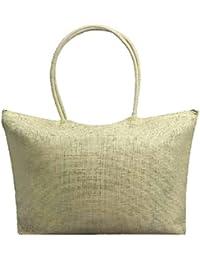 QUICKLYLY Bolsa Playa de Lona Mujer Grande Bolso de Mano Shopper Bolsa con  Cremallera Paja Bolsa 92588b475dc0