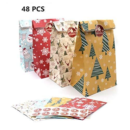 Parti Papier Geschenktüten, 48 Stück Candy Tüten Partytüten Set mit Aufkleber Geschenktüten Bunt Papiertüten Süssigkeiten Beutel Für Party Weihnachten Kraft Geschenkpapier