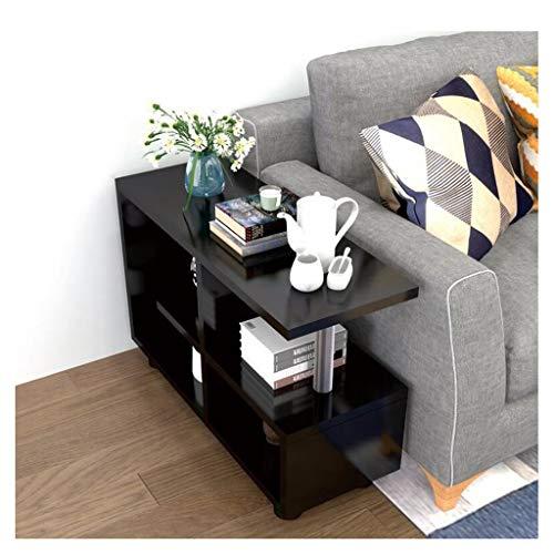 LHOME Hölzerner Würfel-Kaffee-Konsolentisch, 3 Reihen-Sofa-Beistelltisch mit Speicher-Regalen-Organisator-Büro-Bücherregal-Wohnzimmer-Ende-Schreibtisch-Stand-Anzeige (Farbe : Schwarz) (Glas-regal-anzeige)