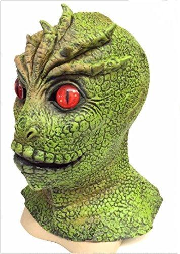 The Rubber Plantation TM 619219292344V die Besucher Maske Alien Martian Monster Reptile Lizard Man Halloween Kostüm Zubehör Comic Con Cosplay, Unisex, ONE SIZE