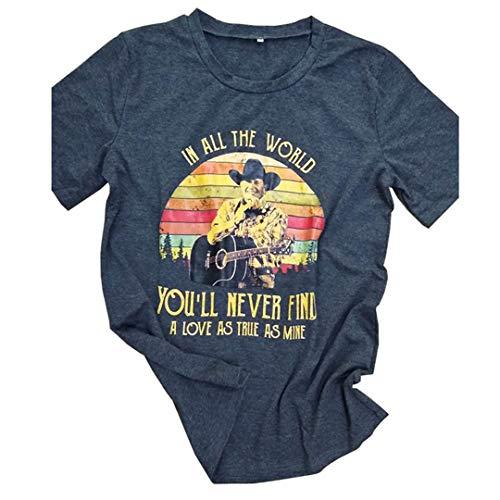 Country Musik Halloween Kostüm - Frauen-T-Shirt-Weinlese-Country-Musik-Grafik-T-Stücke beiläufige Sommer-Oberseiten Black