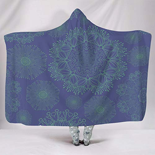 NC83 Fledermausdecke Stahl Blau Mandala Muster Drucken Mikrofaser Super Gemütlich Kapuze Robe - Zwei Größen Passt Mittagspause Verwenden White 203x139cm