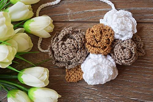 Rosen Gehäkelte Blume Stirnband Baby Mädchen Raffhalter
