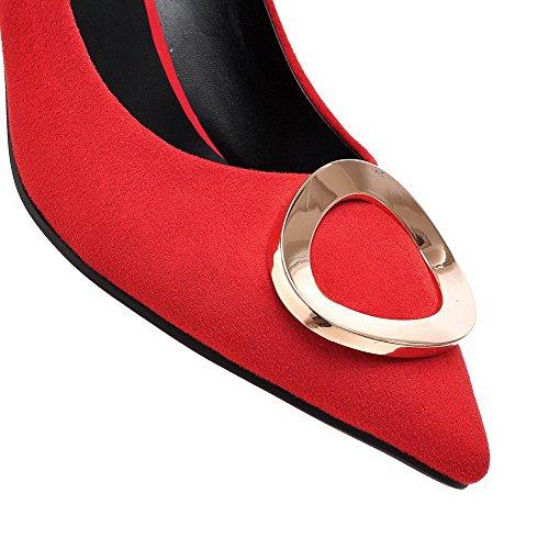 VogueZone009 Damen Mattglasbirne Ziehen Auf Spitz Zehe Mittler Absatz Rein Pumps Schuhe Rot