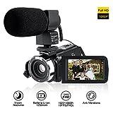 Camcorder Full HD Mit Externem Mikrofon,LESHP Videokamera mit Infrarot Nachtsicht,Gesichtserkennung,3