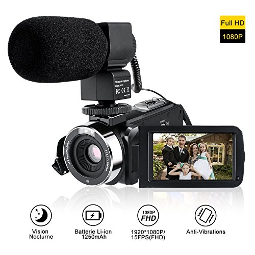 """Camcorder Full HD Mit Externem Mikrofon,LESHP Videokamera mit Infrarot Nachtsicht,Gesichtserkennung,3"""" LCD Touchscreen,16X Digitales Zoom, 270 Grad-Drehbarem,Selbstauslöser Funktionen,Fernbedienung"""