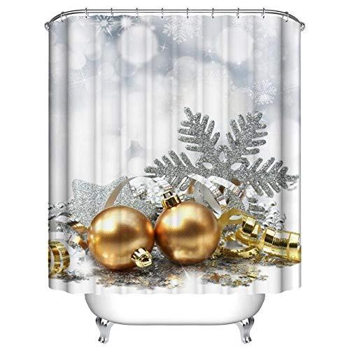 atuen Weihnachts Duschvorhang 180Cm * 180Cm,Weihnachten Wasserdicht PolyesterDuschvorhangDekor Mit Haken Weihnachtsmann Schneemann Duschvorhang Neu (G), F ()