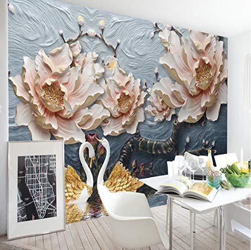 VVBIHUAING 3D Wand Tapete Dekorationen Wandbilder Aufkleber Schwanenpfingstrose Dekoration Home Wohnzimmer Hintergrund Landschaft Kunst Kinderküche (W) 400x(H) 280cm (Riesen-wand-abziehbilder Für Wohnzimmer)