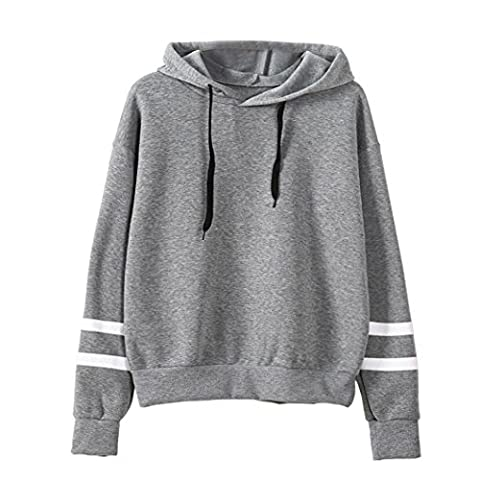 ❤❤❤ Kolylong® Frauen Langarm Kapuzenshirt Pullover Oberteile Tops (L, Grau)