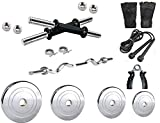 #6: Home gym 16kg combo with steel plates+dumbbell rods+3 ft. E-Z barbell bar(23mm) and Accessories